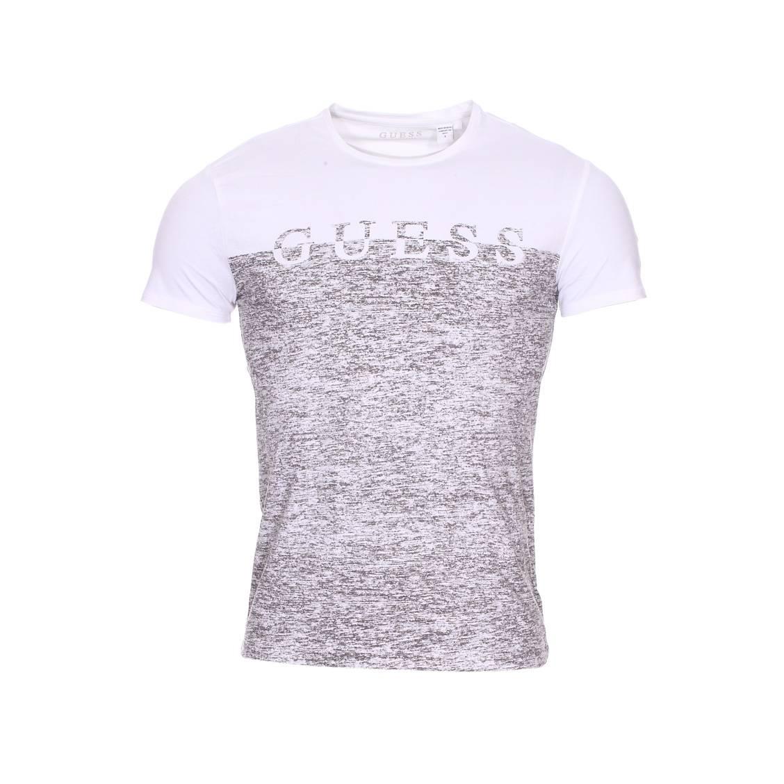 Tee-shirt col rond guess en coton stretch blanc et gris chiné