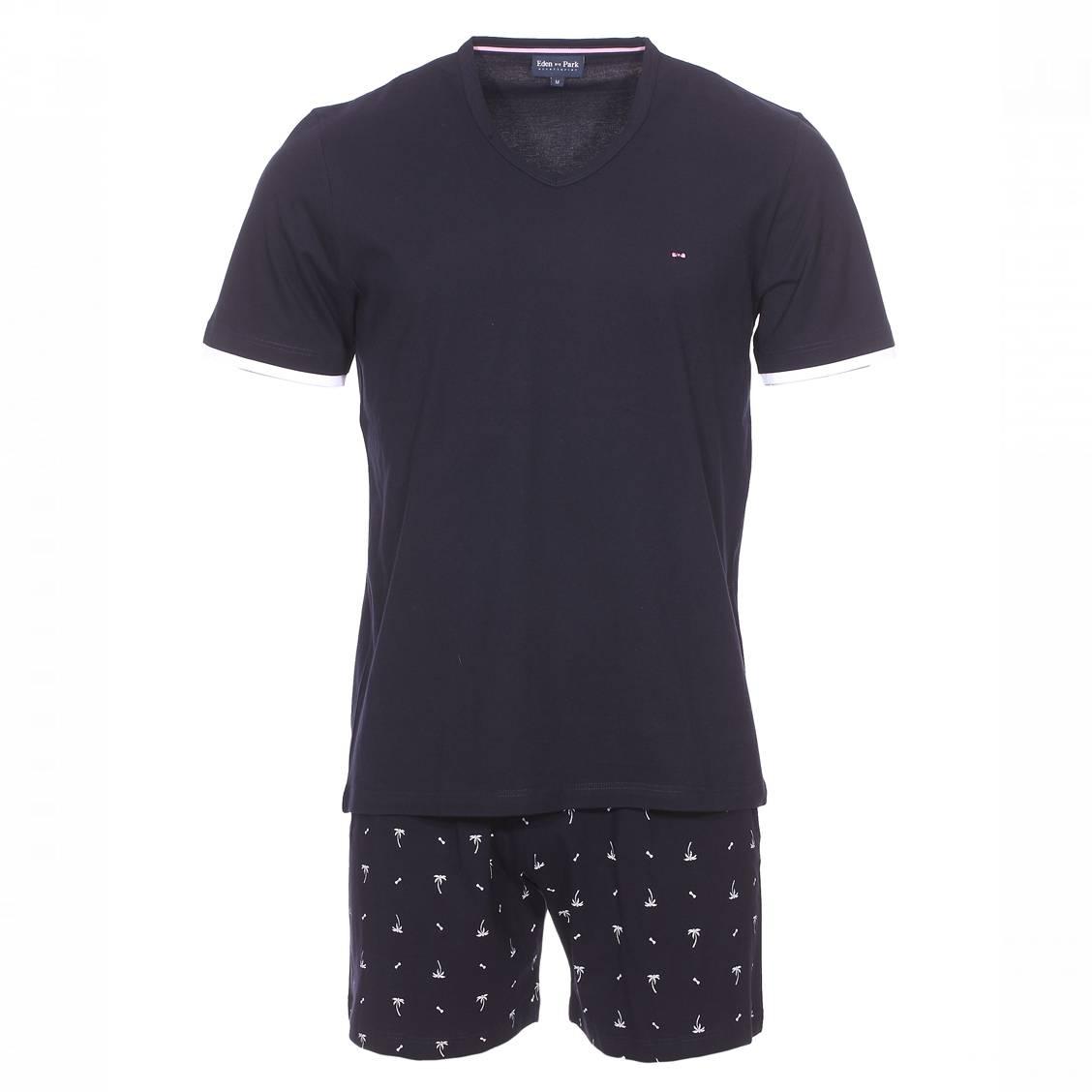 Pyjama court eden park en coton : tee-shirt col v bleu nuit et bermuda bleu nuit à motifs palmiers
