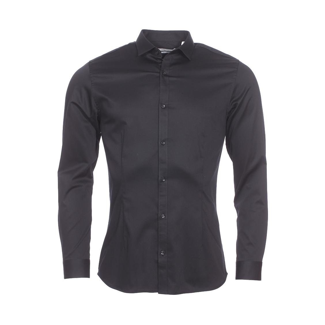 Chemise cintrée  premium parma en coton stretch noir
