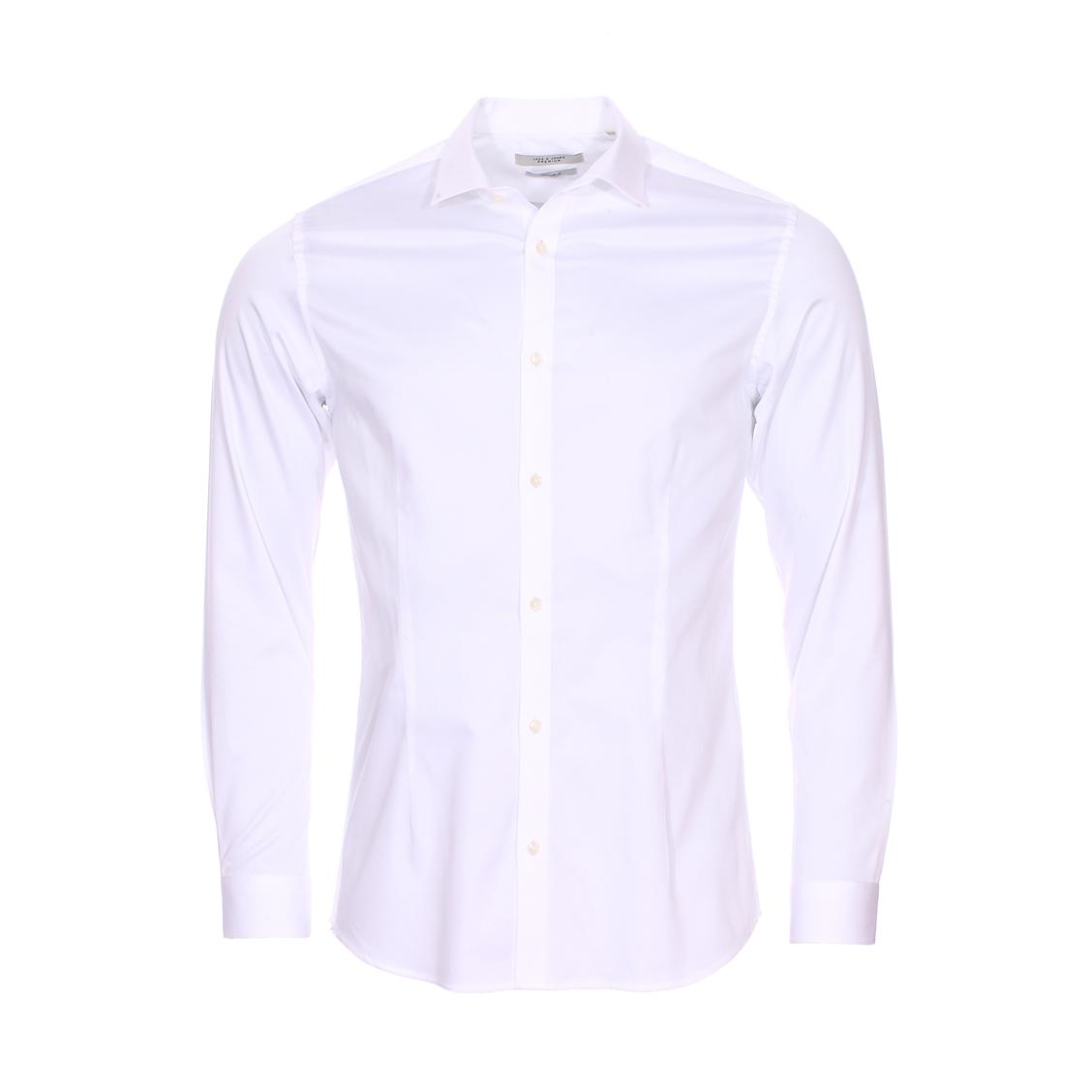 Chemise cintrée  premium parma en coton stretch blanc