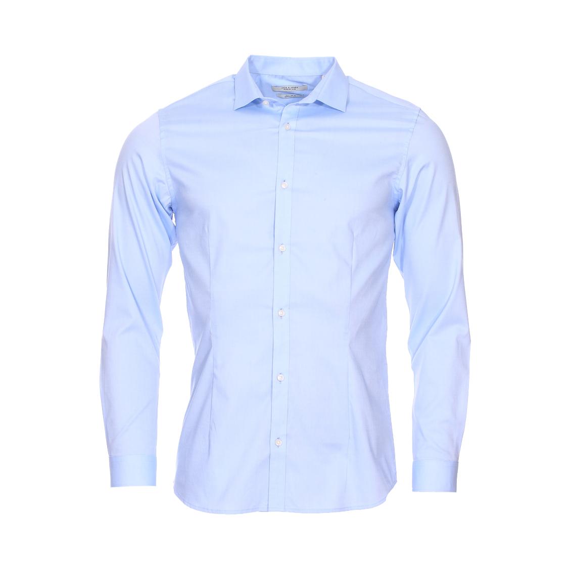 Chemise cintrée  premium parma en coton stretch bleu ciel