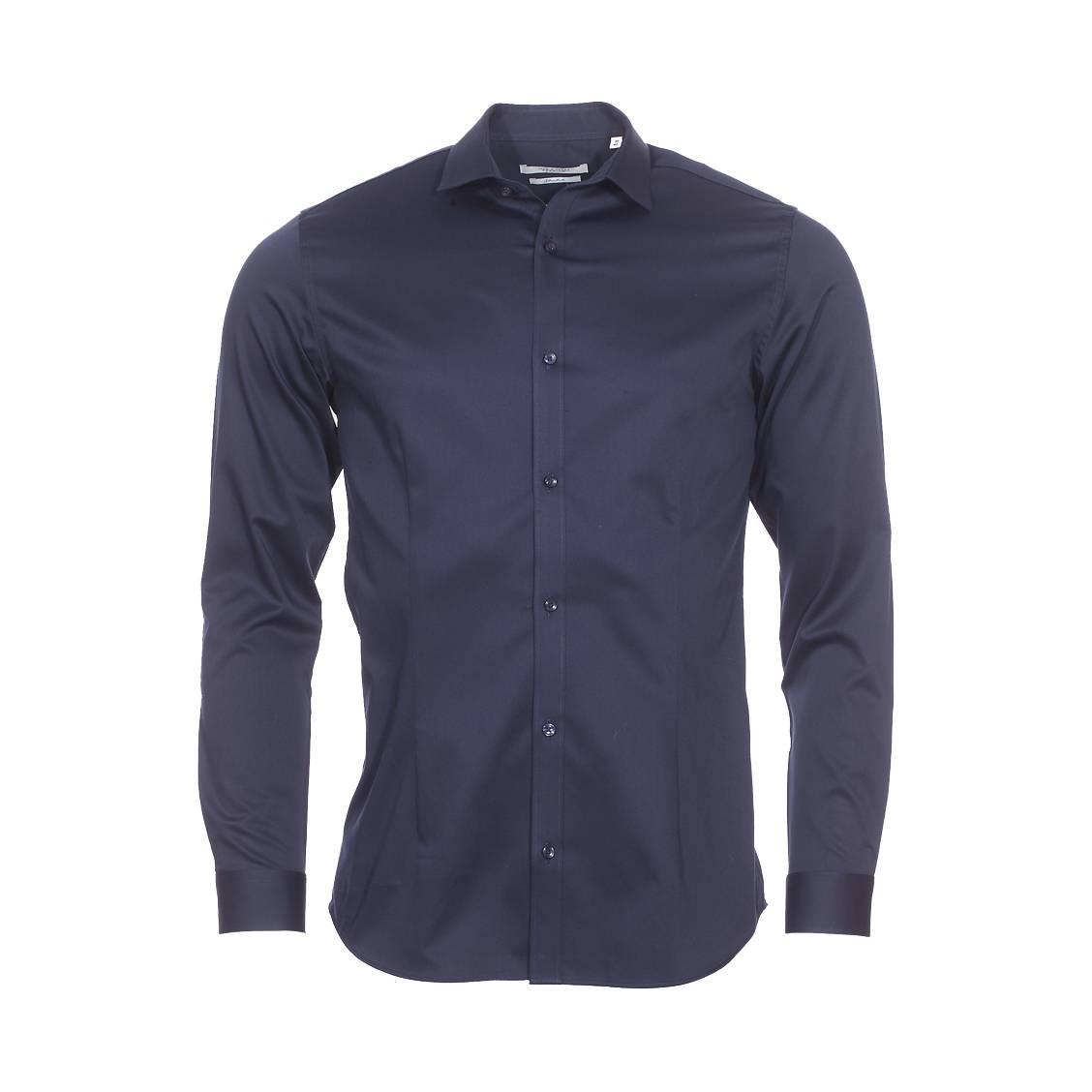 Chemise cintrée jack & jones premium parma en coton stretch bleu marine