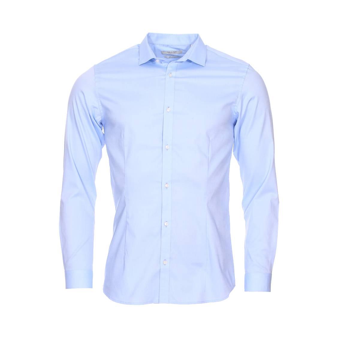 Chemise cintrée jack & jones premium parma en coton stretch bleu ciel