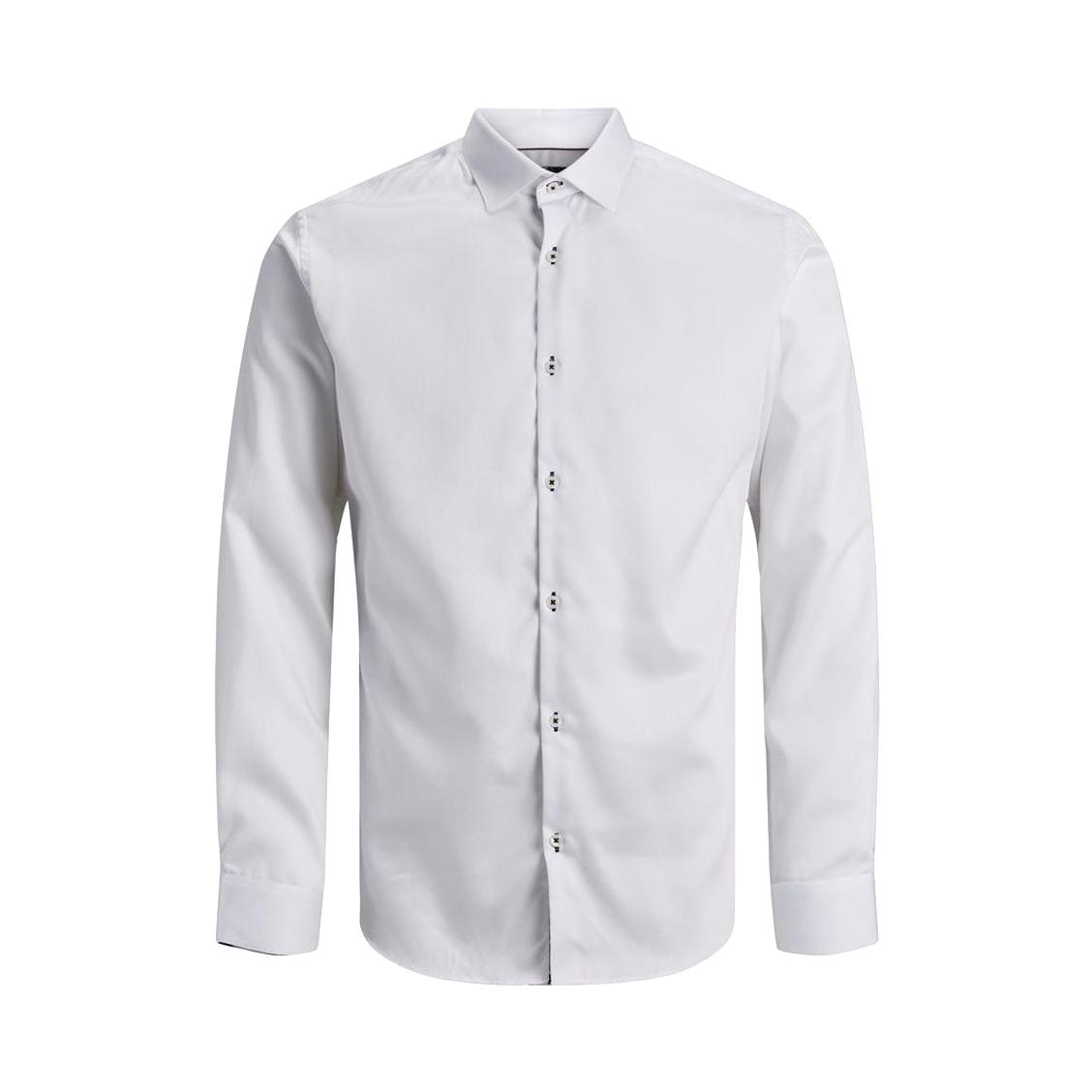 Chemise jack&jones en coton blanc à oppositions noires à fleurs roses