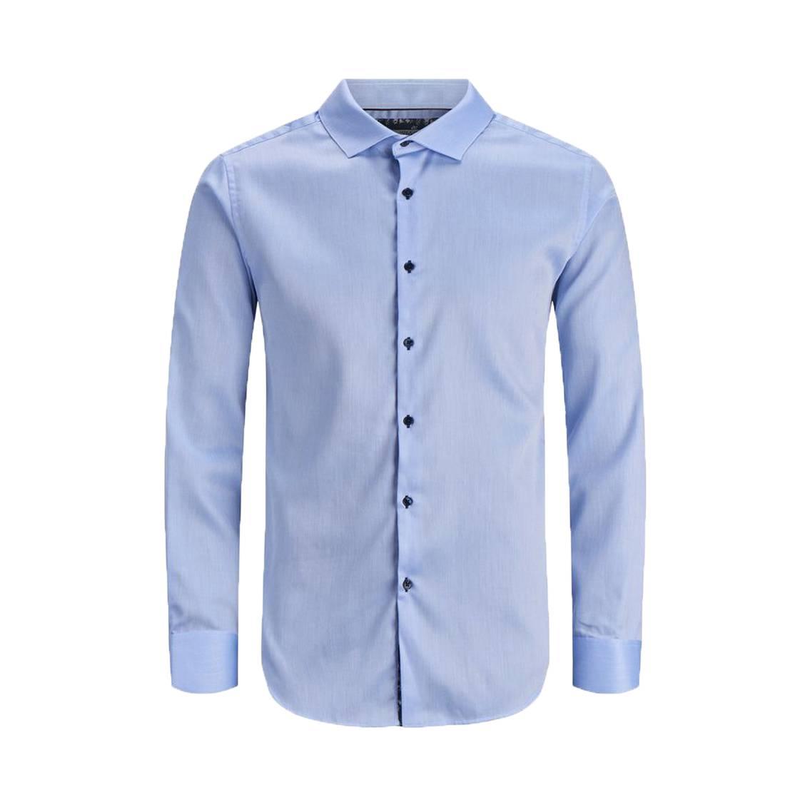 Chemise  en coton bleu ciel à oppositions noires à fleurs roses