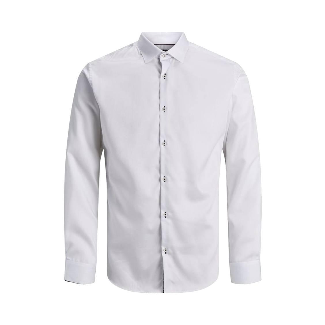 Chemise  en coton blanc à oppositions noires à fleurs roses
