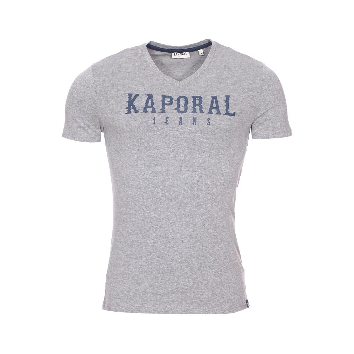 Tee-shirt col v  pazik en coton stretch gris chiné à flocage relief bleu pétrole
