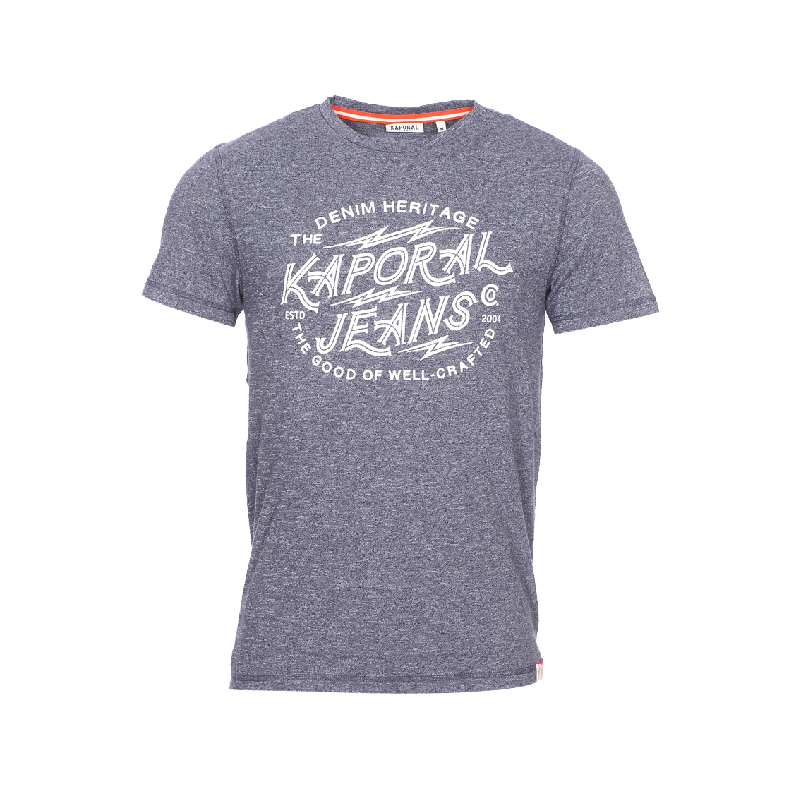 Tee-shirt col rond  pagan en coton mélangé bleu marine chiné floqué en blanc