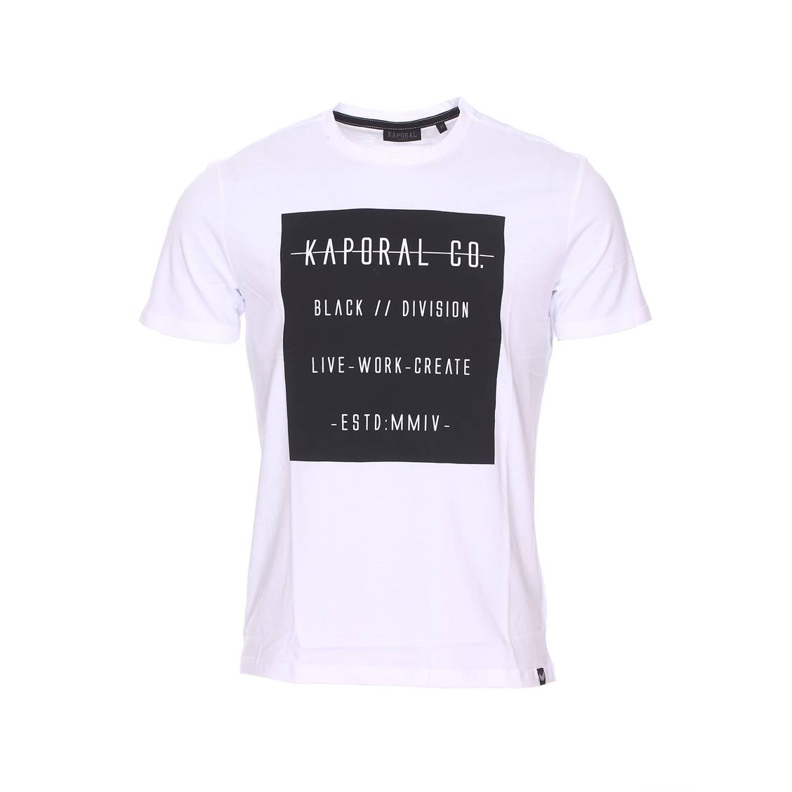 Tee-shirt col rond  prizz en coton blanc floqué d\'un carré noir
