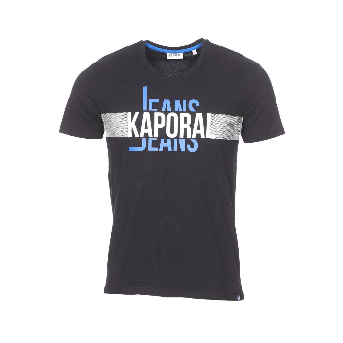 Tee-shirt col v  delmo en coton noir floqué