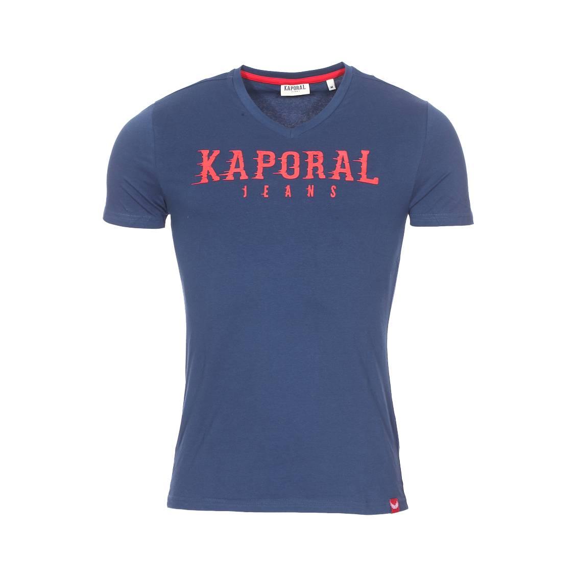Tee-shirt col v  pazik en coton stretch bleu pétrole à flocage relief rouge