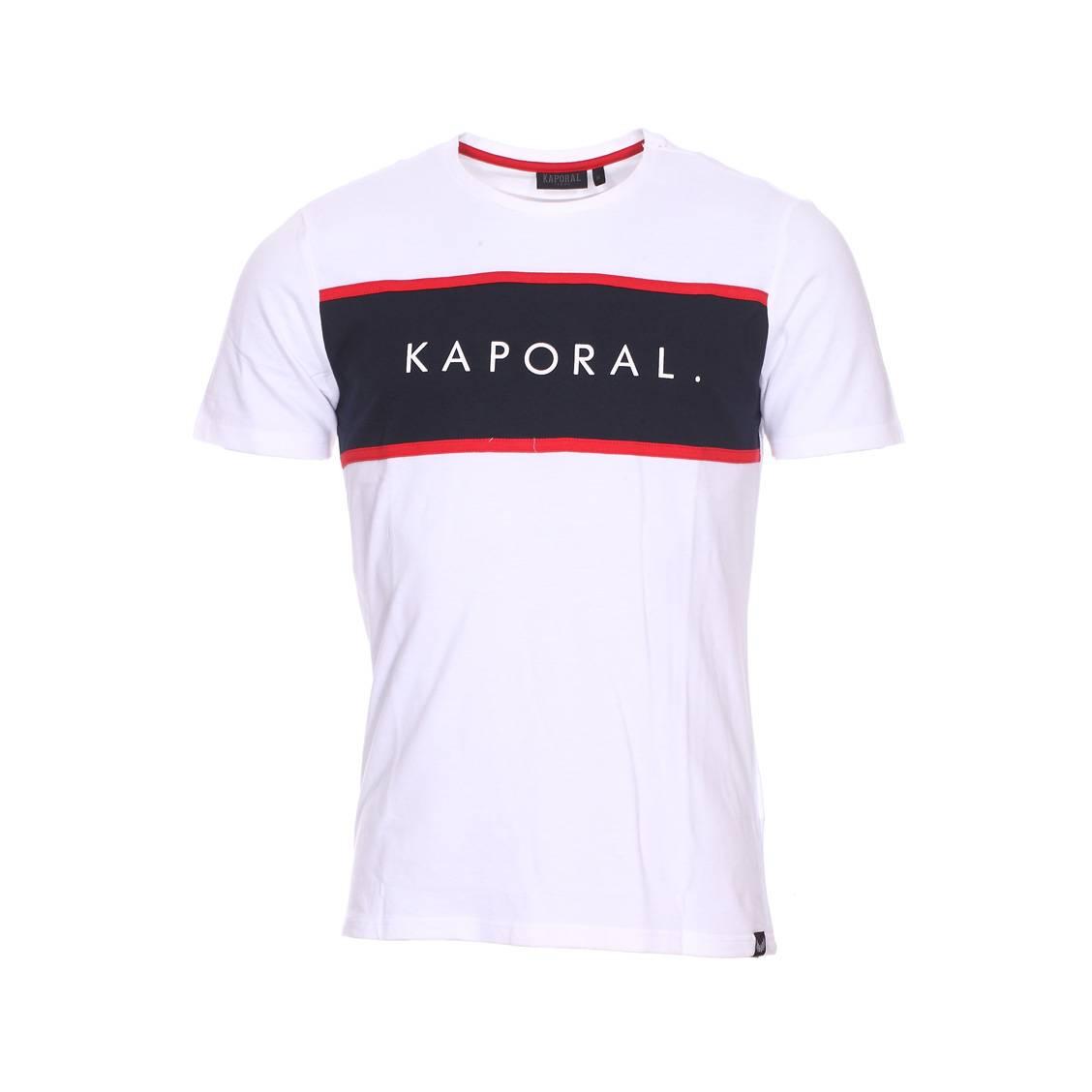 Tee-shirt col rond  natty en coton stretch blanc à flocage rouge et bleu marine