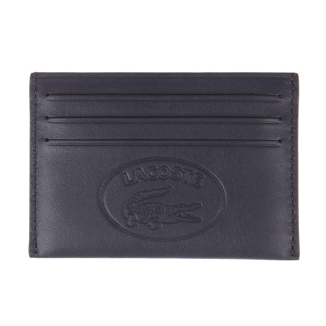 eb83602273 Porte-cartes italien l.12.12 en cuir de vache bleu marine avec logo embossé