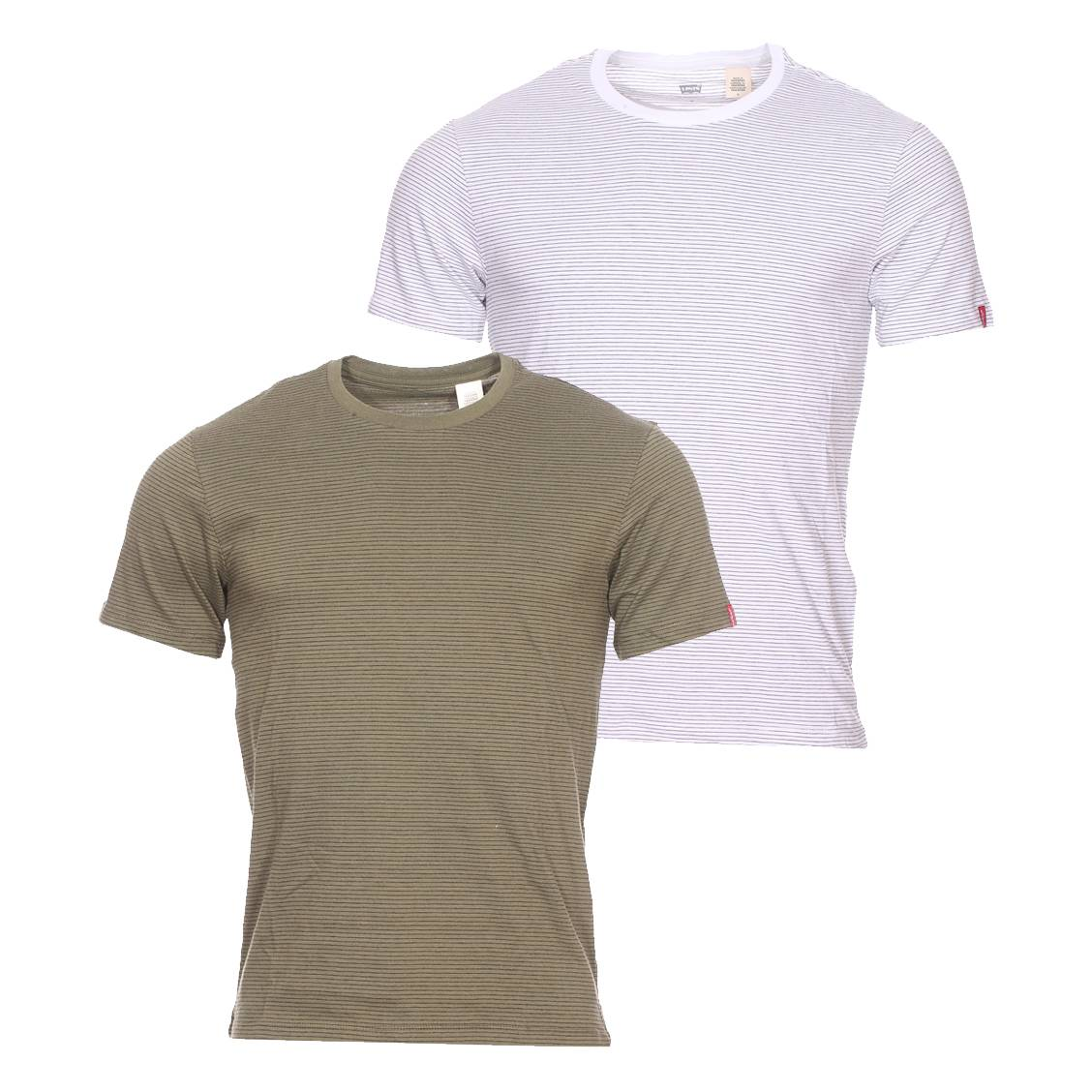 lot de 2 tee shirts levi 39 s slim en coton vert kaki et. Black Bedroom Furniture Sets. Home Design Ideas