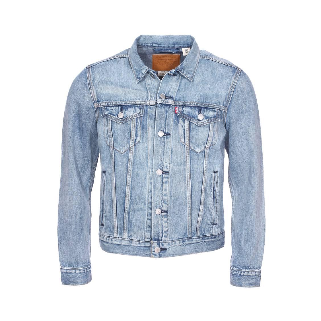 Veste en jean levi\'s the trucker en coton mélangé bleu clair à effet délavé