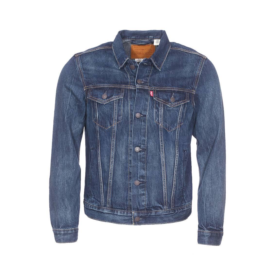 Veste en jean levi\'s the trucker en coton mélangé bleu indigo à effet délavé