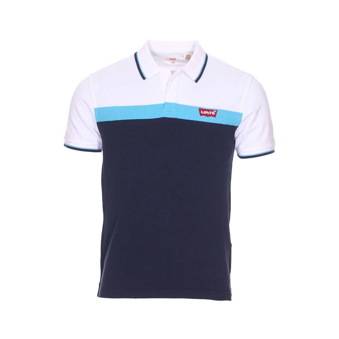 6e21468b96 Polo manches courtes Levi's Modern en piqué de coton blanc, bleu ciel et bleu  marine ...