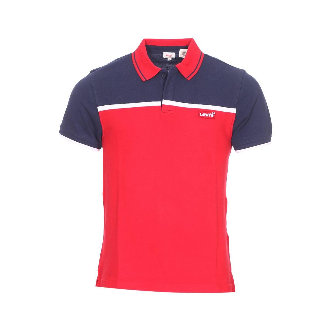 8352591500 Polo manches courtes Levi's Modern en piqué de coton bleu marine et rouge à  détails blancs ...