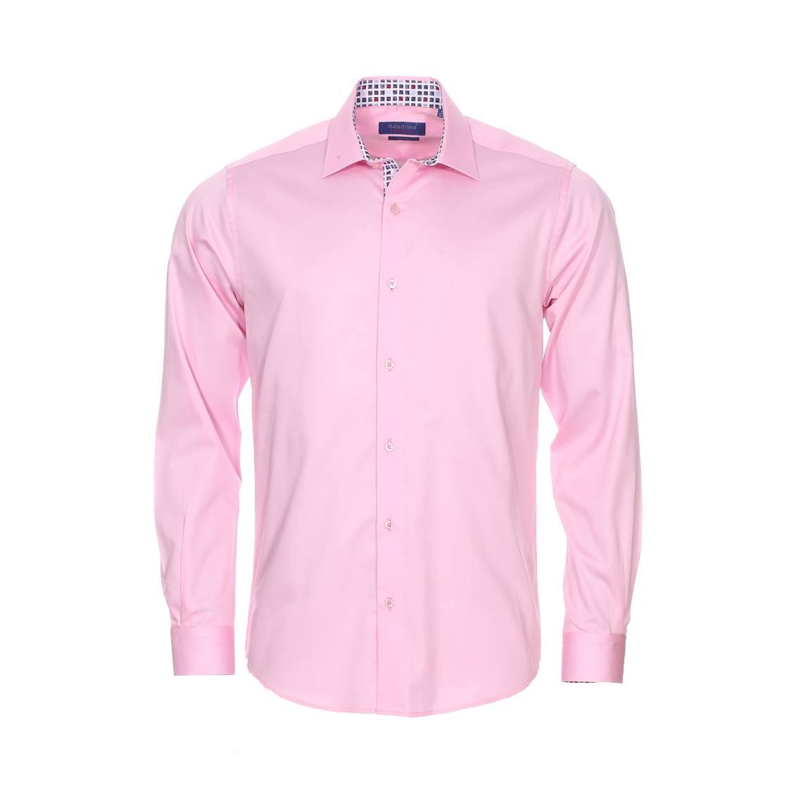 Chemise cintrée Méadrine Basic en coton rose avec opposition à motif carré rouge, bleu ciel, bleu marine et gris