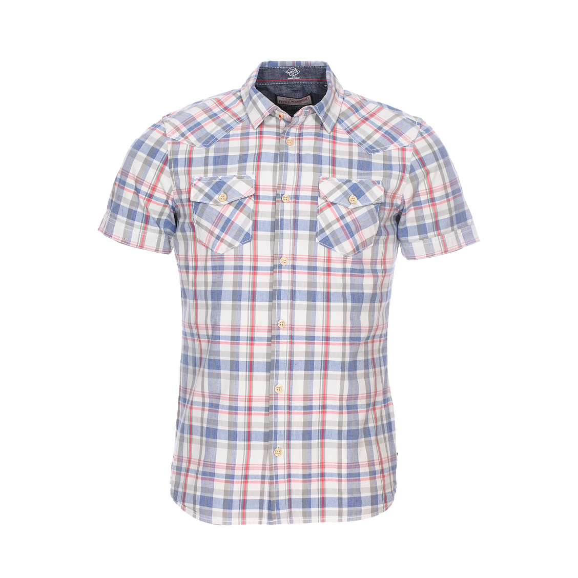 Chemise ajustée manches courtes  en coton gris à carreaux bleus, rouges et gris