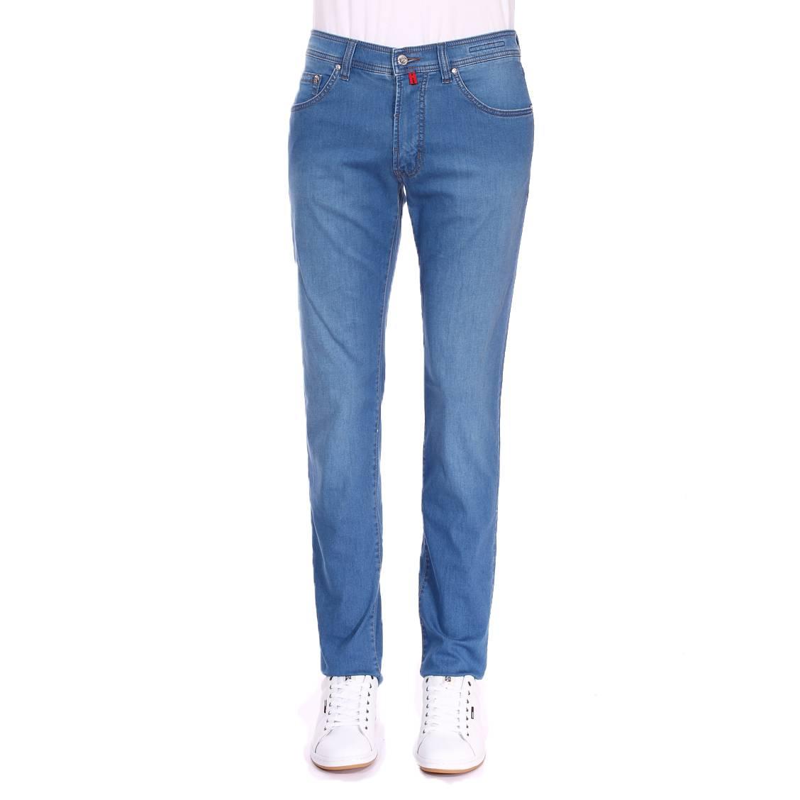 Jean  deauville en coton mélangé stretch bleu clair légèrement délavé