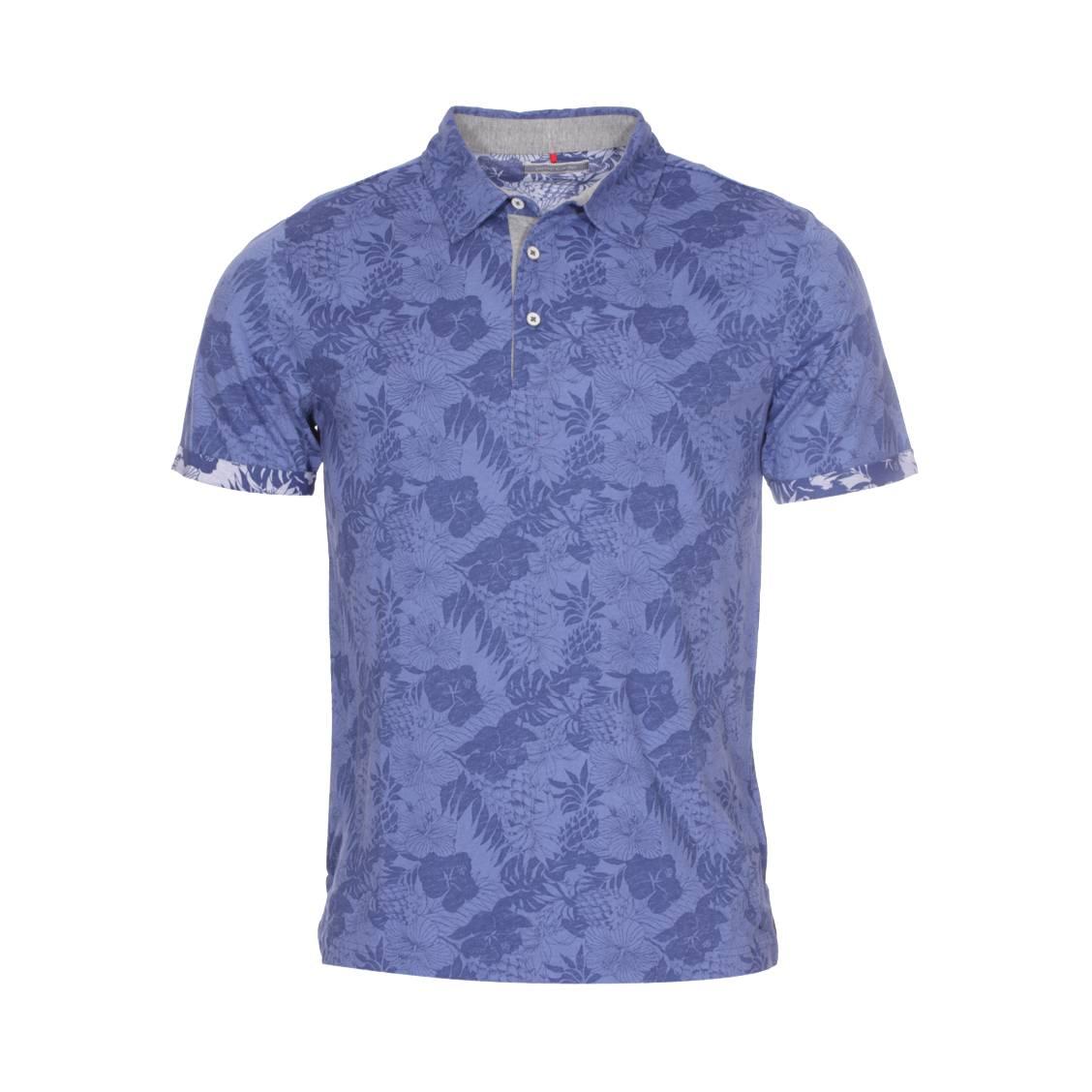 Polo  en coton bleu à motifs floraux