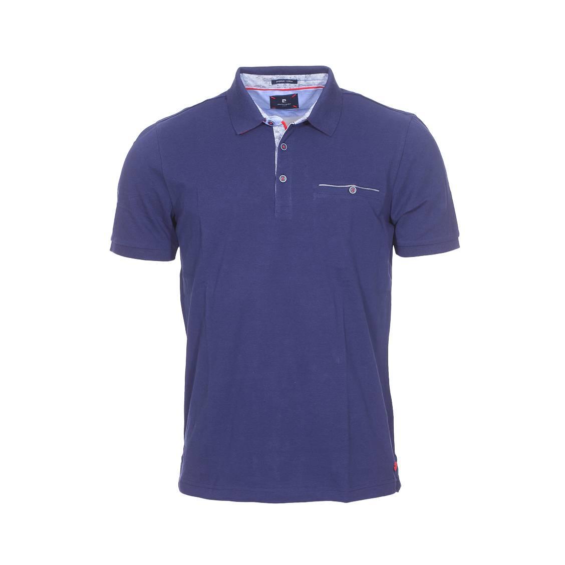 Polo  en coton piqué bleu marine