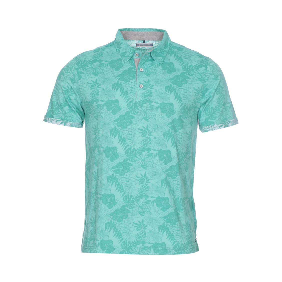 Polo  en coton vert à motifs floraux