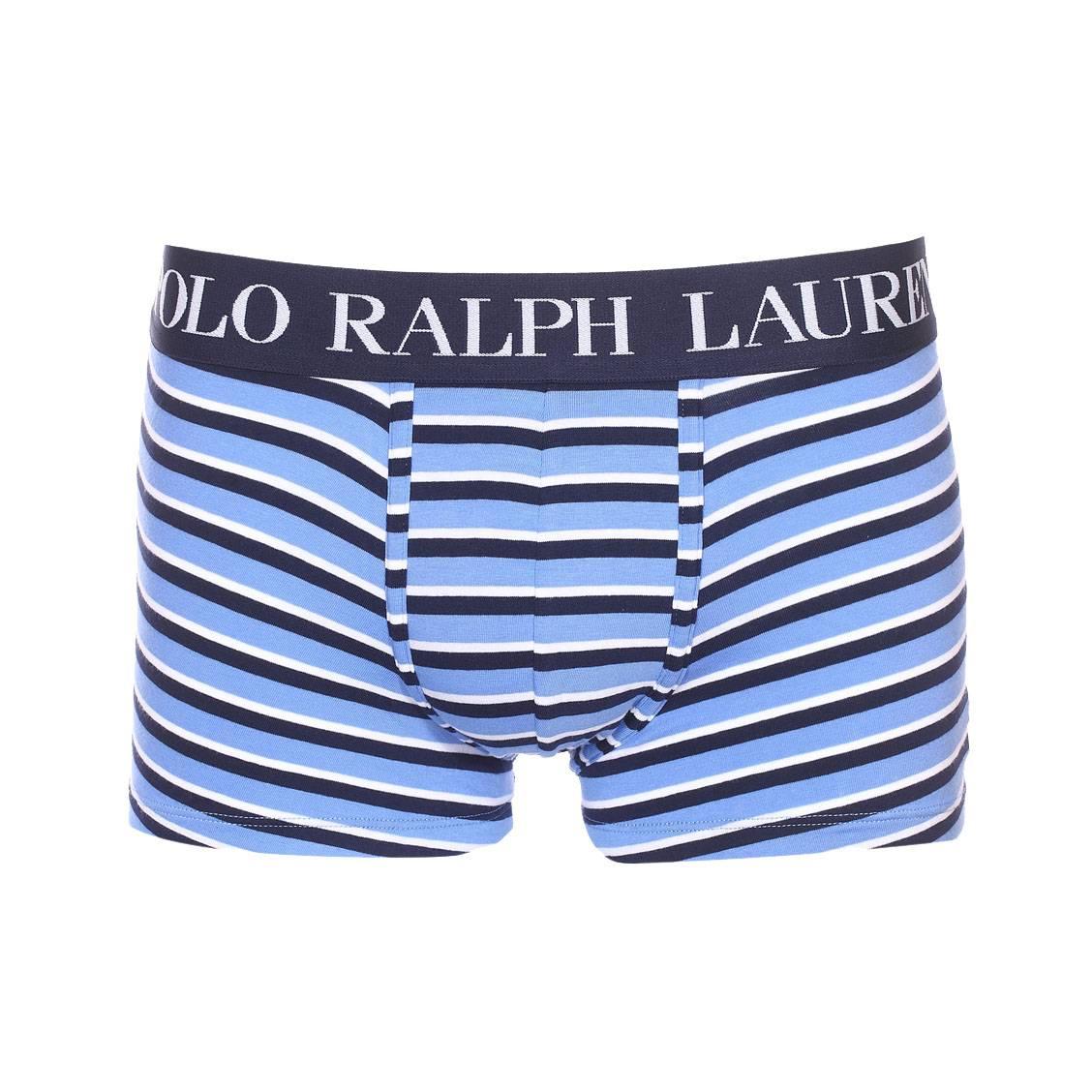 Boxer  en coton stretch bleu indigo à rayures blanches et noires