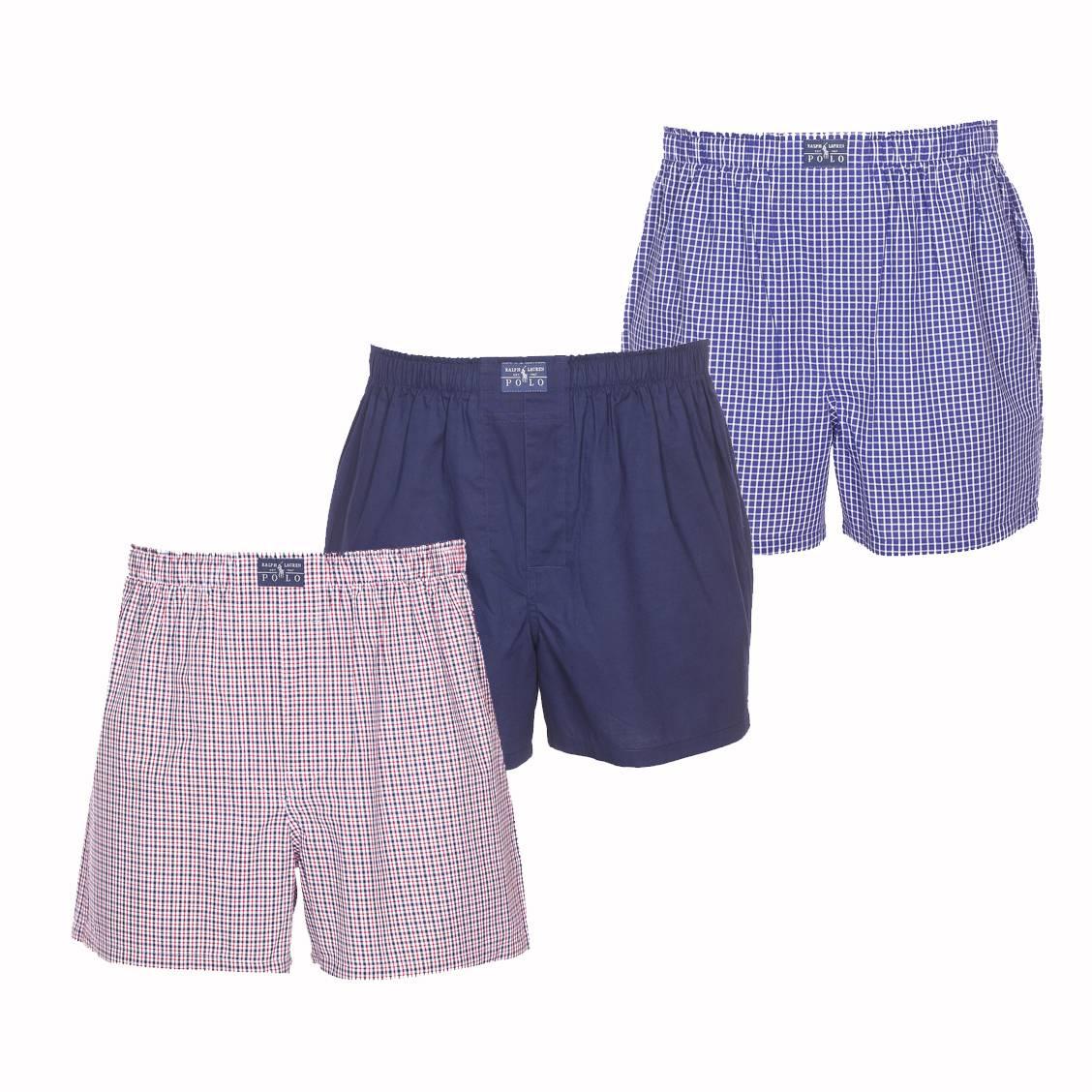 Lot de 3 caleçons coupe standard  en coton bleu marine, bleu roi à carreaux blanc et blanc à carreaux rouges et bleu marine