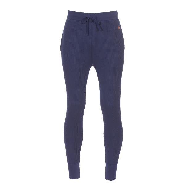Pantalon de jogging léger  en molleton gauffré bleu marine