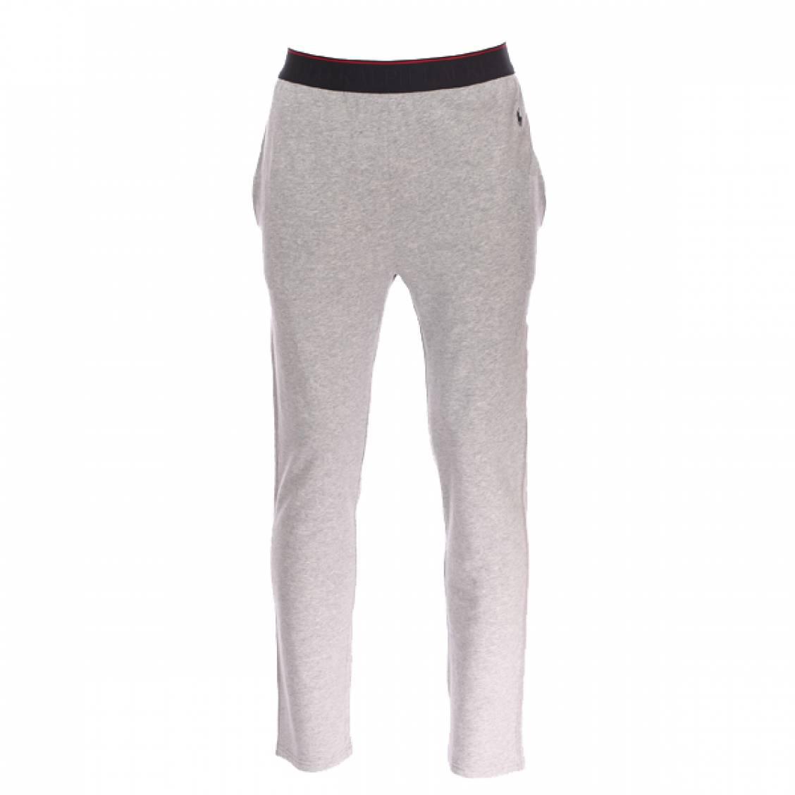 Pantalon d\'intérieur  en coton stretch gris chiné à ceinture noire