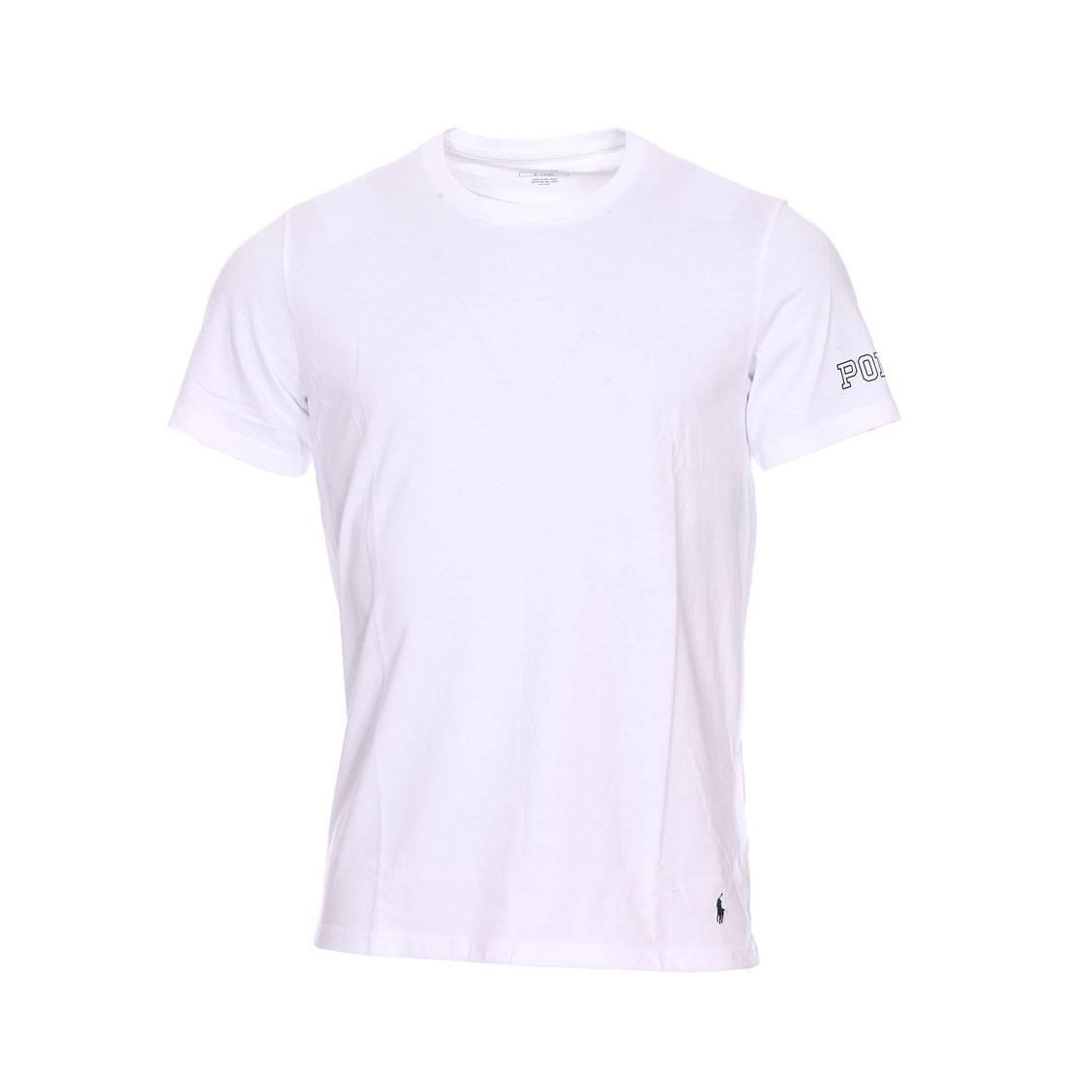 Tee-shirt col rond  en coton stretch blanc floqué sur la manche