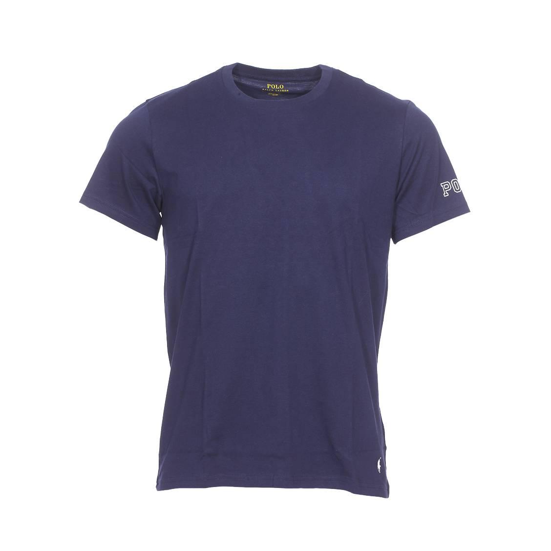 Tee-shirt col rond  en coton stretch bleu marine floqué sur la manche