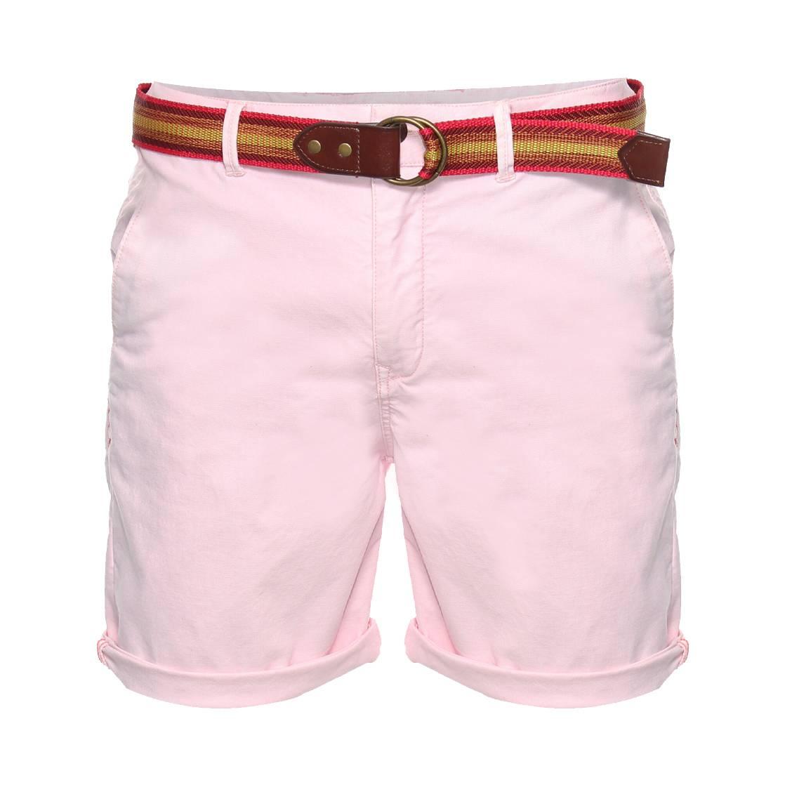 Short chino Scotch & Soda en coton stretch rose pâle à ceinture en toile