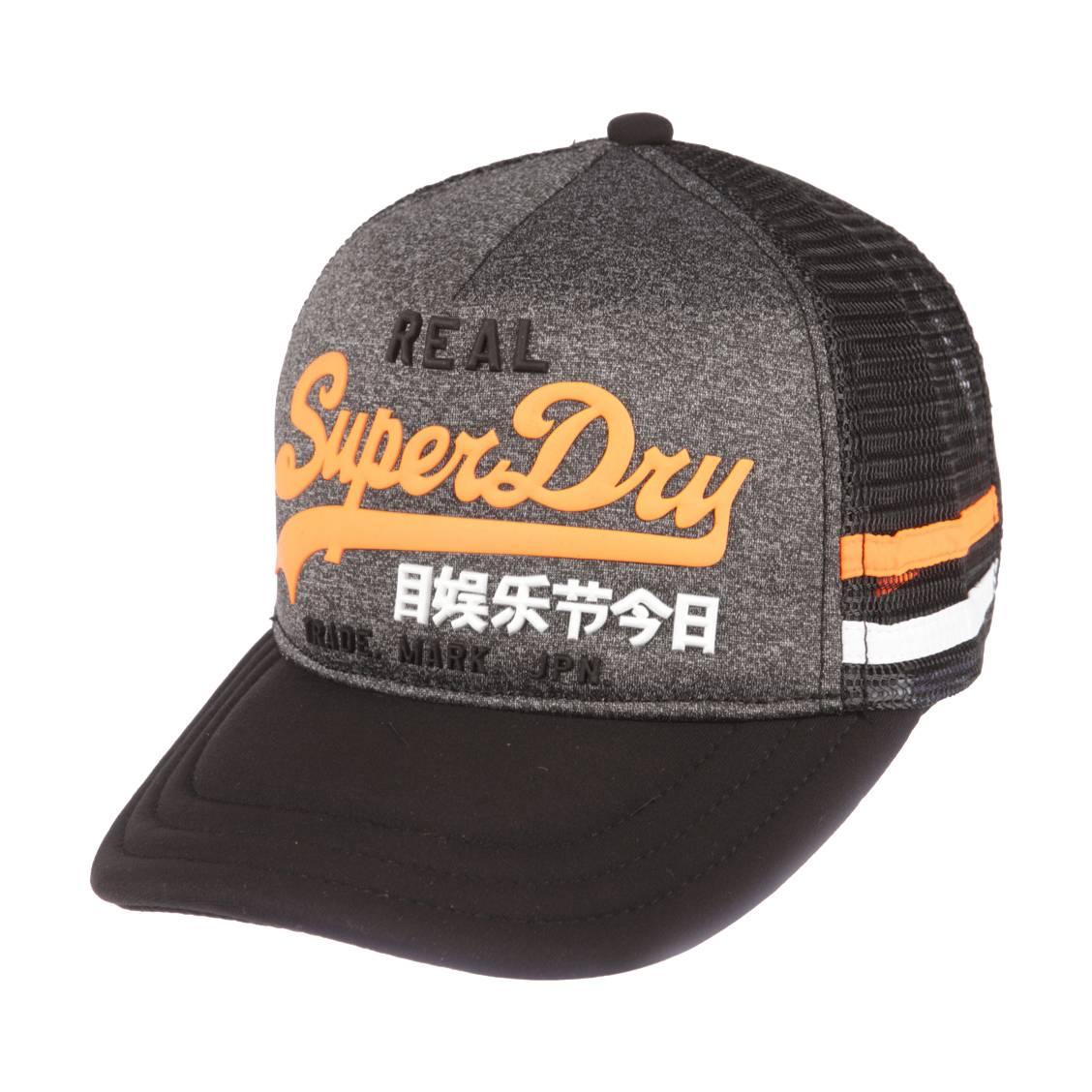 5f9c957477 Casquette Superdry Premium Goods en gris chiné et mesh noir à détails  contrastants oranges et blancs ...