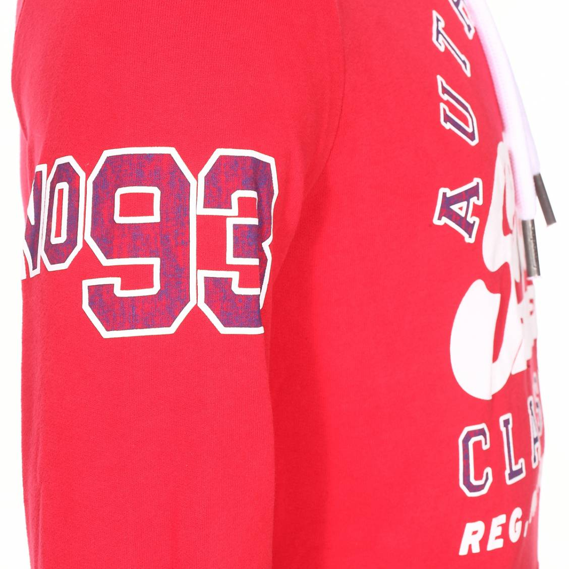 Sweat à capuche Superdry Heritage Classic Lite Hood en coton mélangé rouge floqué blanc et bleu | Rue Des Hommes