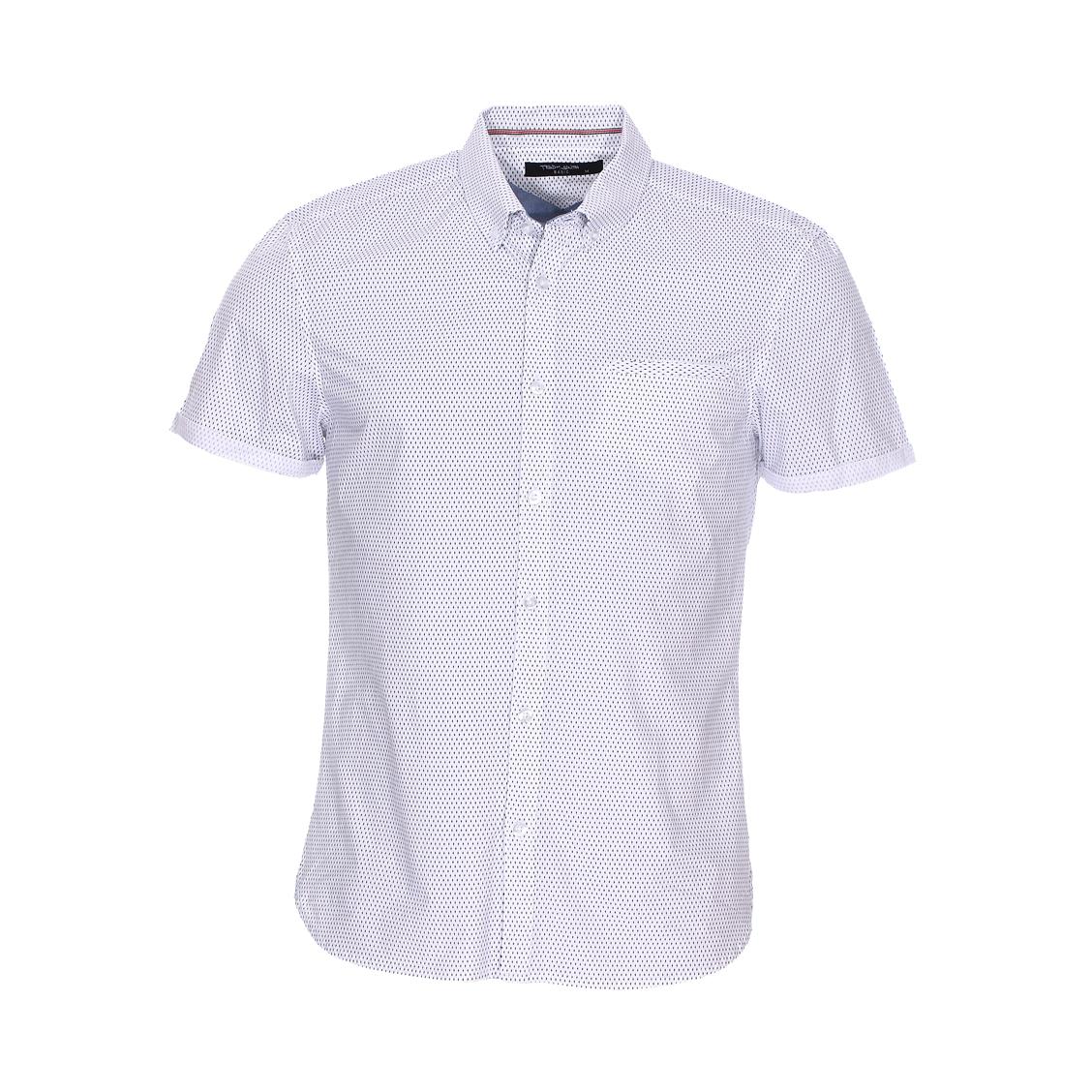 Chemise manches courtes ajustée  cut en coton blanc à micro motifs bleu marine