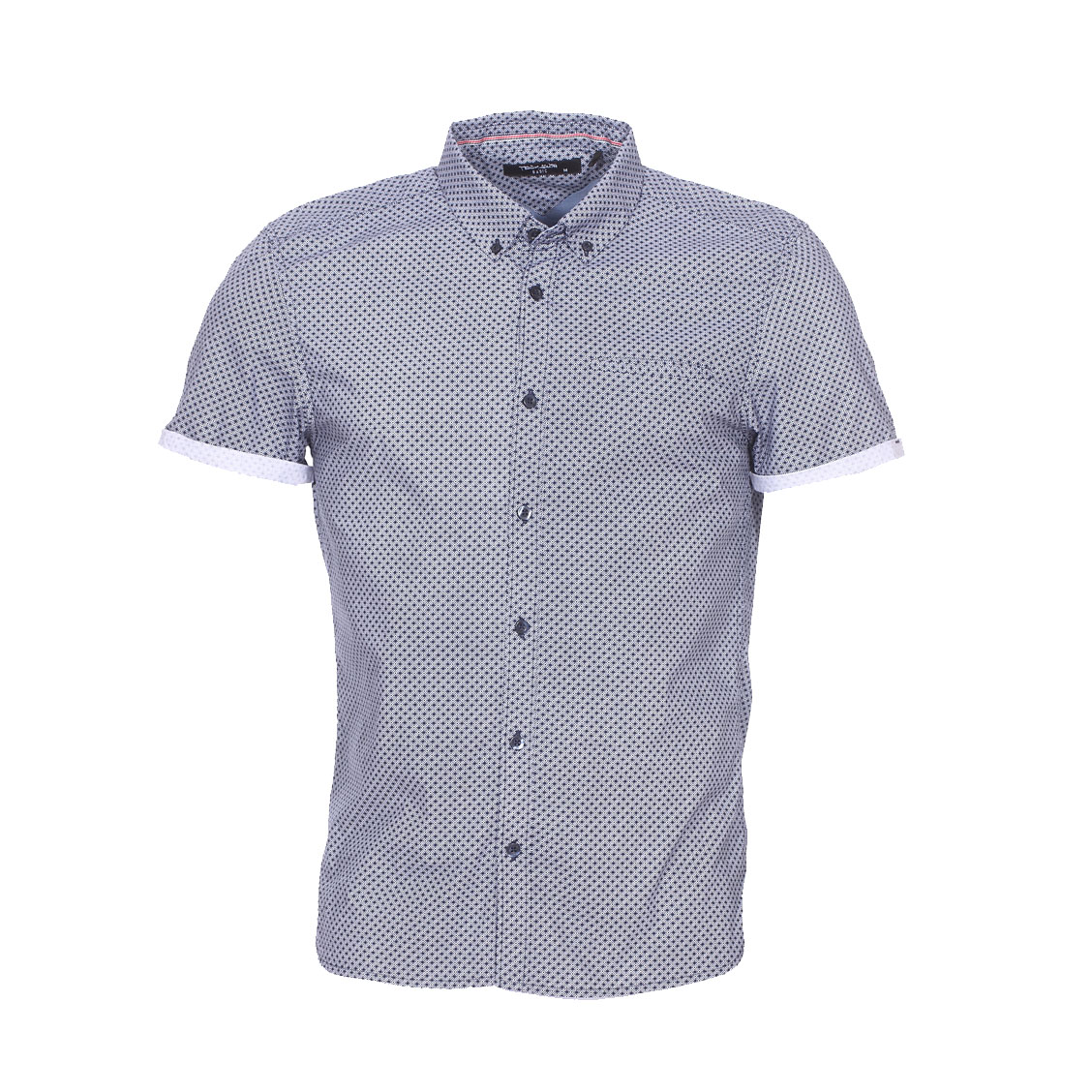 Chemise manches courtes ajustée  cut en coton bleu marine à motifs graphiques blancs