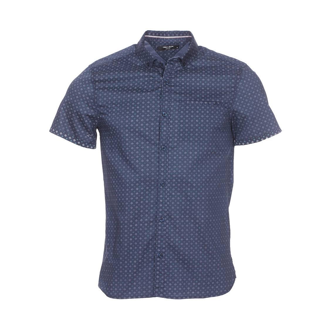 Chemise manches courtes ajustée  cut en coton bleu marine à micro motifs bleus et blancs