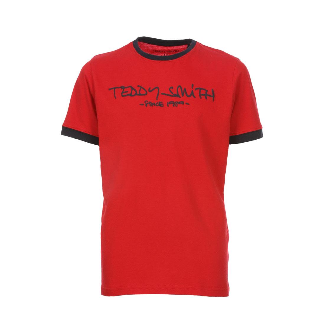 Tee-shirt col rond  ticlass en coton rouge floqué en bleu marine
