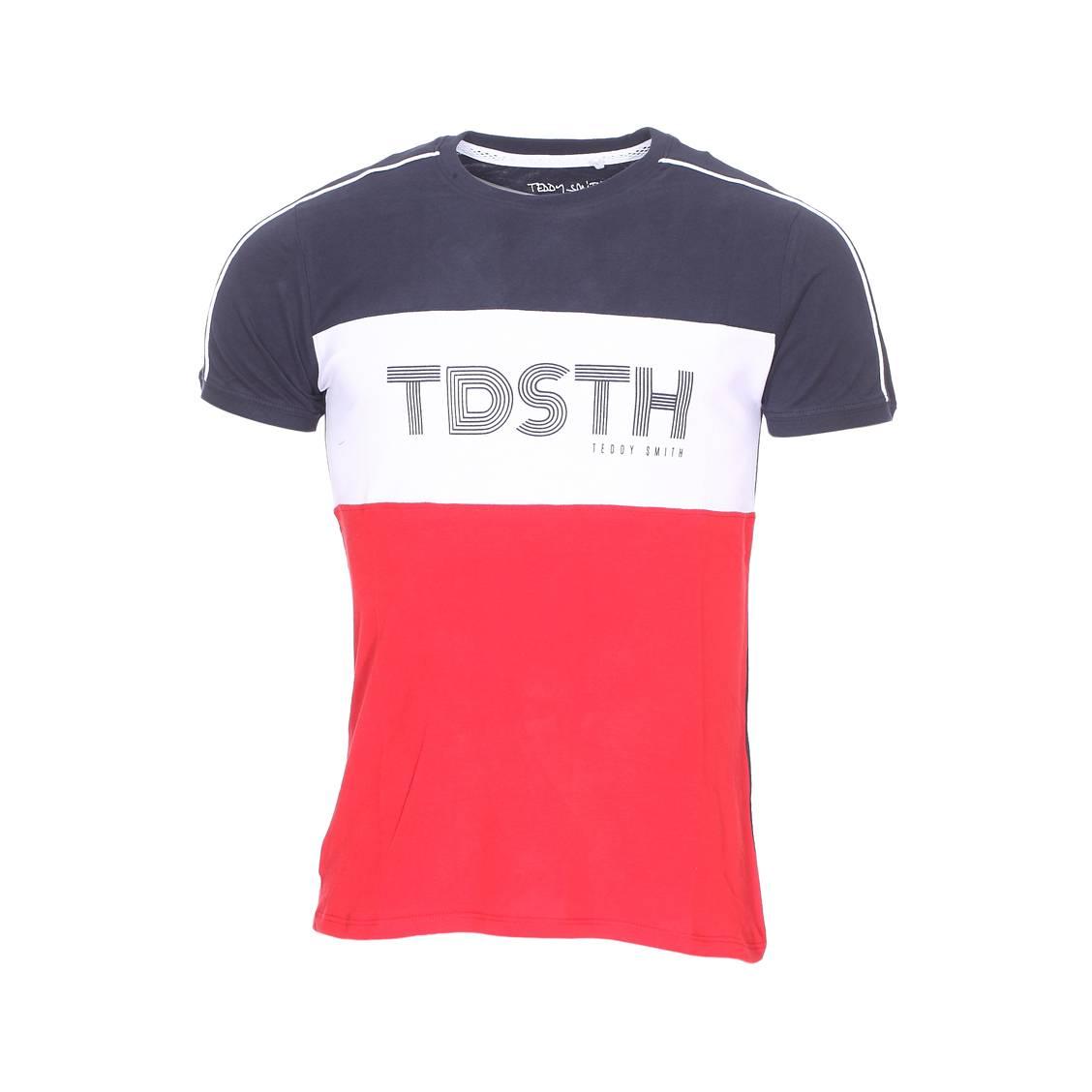 tee shirt col rond teddy smith thou en coton bleu blanc et rouge rue des hommes. Black Bedroom Furniture Sets. Home Design Ideas