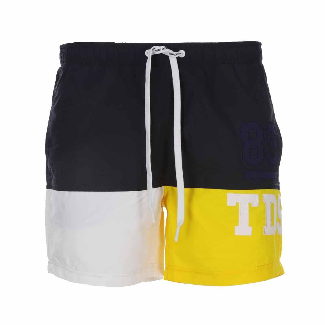 Short de bain Teddy Smith Sigum colorblock bleu nuit, blanc et jaune