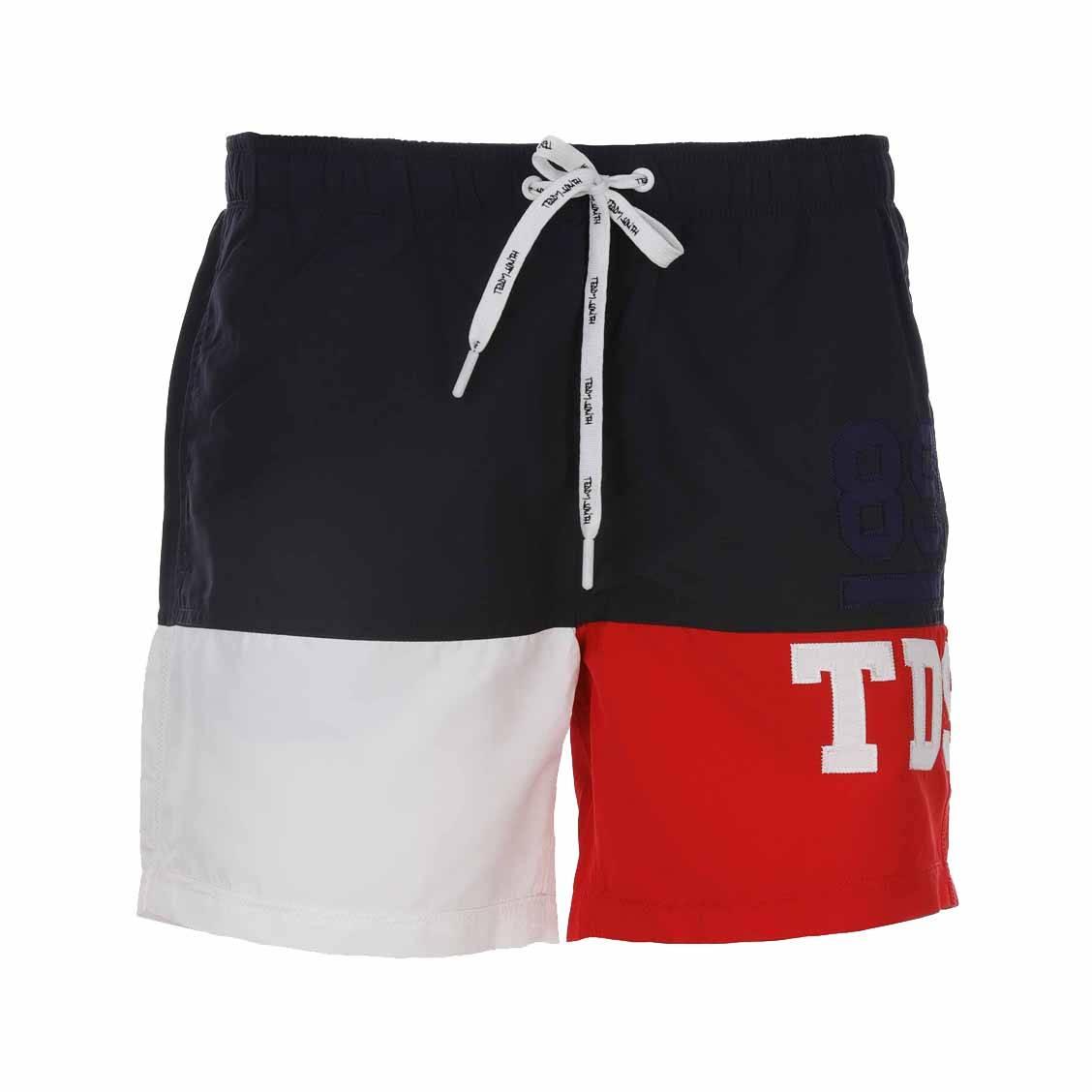 Short de bain Teddy Smith Sigum colorblock bleu marine, blanc et rouge
