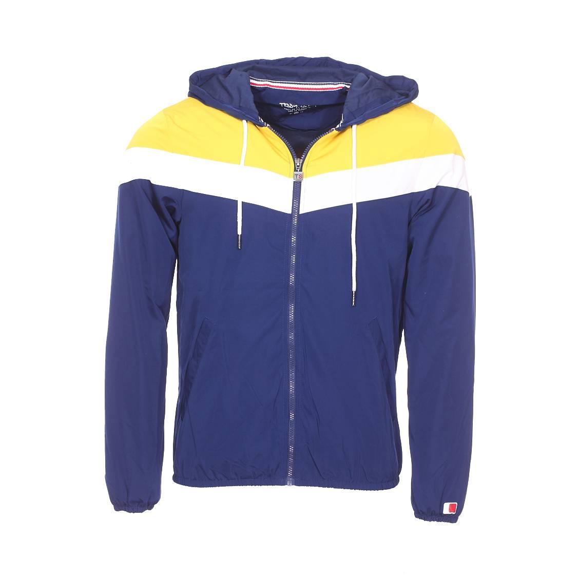 Veste coupe-vent à capuche  b-snatch à opposition de couleurs bleu indigo, jaune et blanche