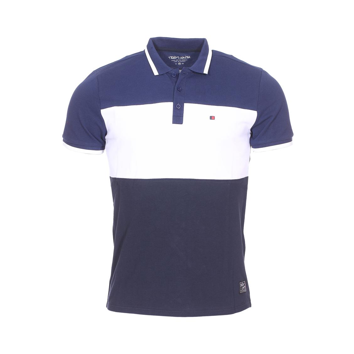 Polo  prover en maille piquée bleu et blanc
