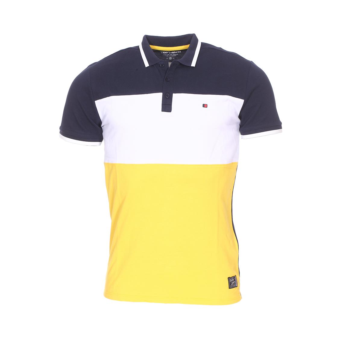 Polo  prover en coton piqué bleu marine, blanc et jaune