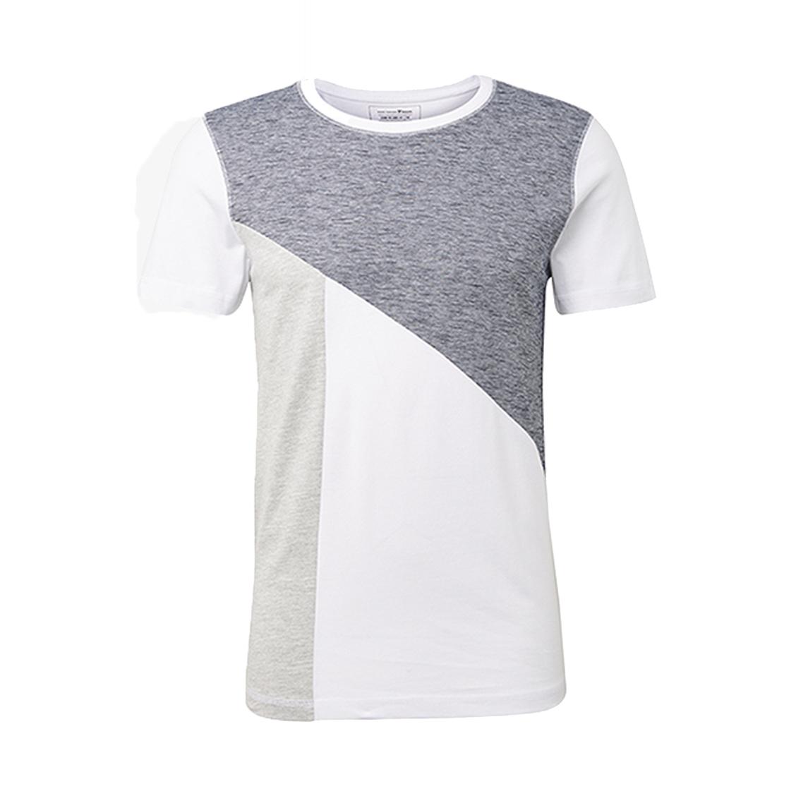 Tee-shirt  en coton blanc à partie bleu denim et bande grise