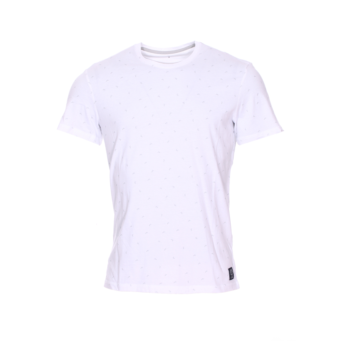 Tee-shirt col rond  blanc à motifs gris