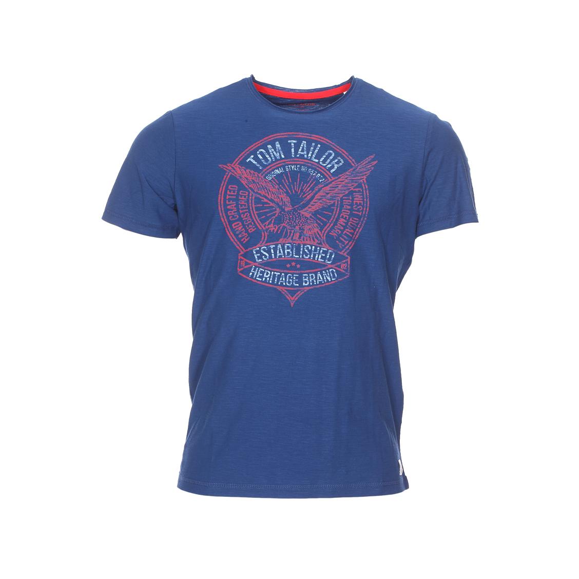 Tee-shirt col rond  bleu marine flammé floqué en rouge